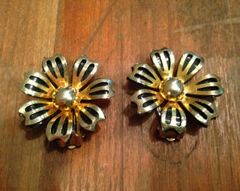 Vintage Metal Flower Clip on Earrings, Mid Century Modern