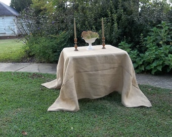 Custom Burlap Tablecloth Handmade Wedding Decorations Table Decor French Country Prairie Farmhouse Custom Tablecloth Floor Length Tablecloth