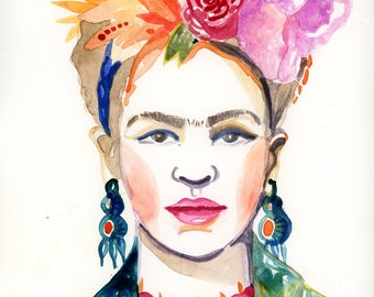 Watercolour Painting of Frida Kahlo with Flower Crown