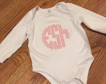 Baby Girls Scallop Monogram Onesie
