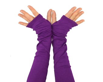 Arm Warmers in Purple - Slouch Style - Fingerless Gloves - Sleeves