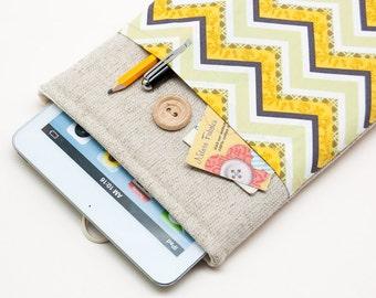 30% OFF SALE Chevron Pattern iPad Mini Case with button closure. Padded Cover for iPad Mini 1 2 3 4. iPad Mini Sleeve Bag.