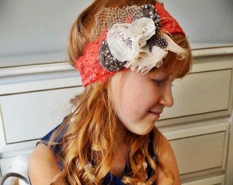 Tangerine Orange Stretch Lace Cream and Tan Polka Dot Flower Headband Girls Ladies Hair Band