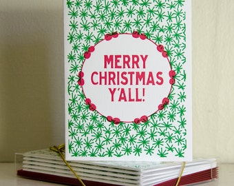 Merry Christmas Y'all: Christmas Cards, Holiday Cards, Christmas Card Set, Christmas Cards Boxed Set, Letterpress Cards, Hand Made Cards
