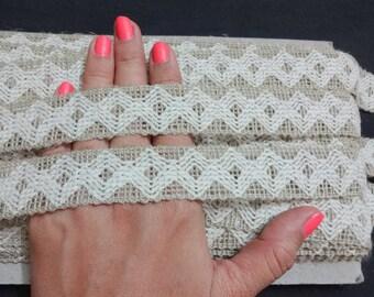 3 Yards Natural Handspun Jute Trim, Jute Lace, Indian Jute, Natural Jute, Burlap Ribbon - Off White