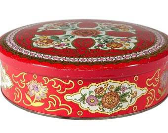 FREE SHIPPING: Vintage Daher Red Round Metal Tin - Colorful Box with Lid