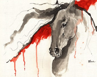 Wild horse, equine art, equestrian portrait,  acrylic and ink painting on paper original artwork