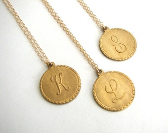 Gold initial necklace gold letter necklace gold monogram brass letter pendant gold initial pendant gold initial necklace raw brass letter charm aloadofball Image collections