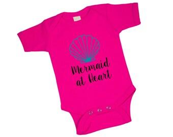 Mermaid at Heart Hot Pink Baby Bodysuit