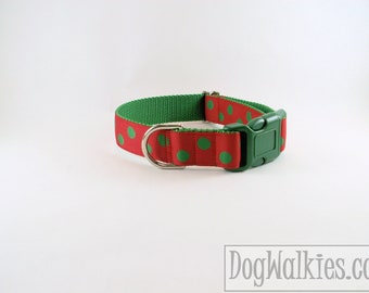 """Green Elf Dots Christmas Dog Collar - 1"""" (25mm) Wide - Choice of collar style and size - Martingale Dog Collars or Quick Release Buckle"""