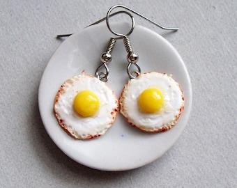 Fried Egg Dangle Earrings - polymer clay miniature food jewelry