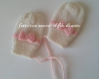 Baby alpaca wool gloves mittens with pink bow