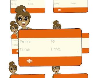 Digital Download - Train Girl stickers - Cleo
