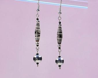 Black Zebra Dangle Earrings #467