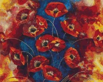 Red Poppies Cross Stitch Kit, Counted Cross Stitch Kit, Floral Cross Stitch, Rozanne Bell Art, Poppy Cross Stitch Kit
