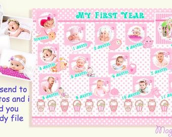 My First Year Baby Photo Collage Baby Girl Collage Gift For New Born Baby Girl Birth announcement Baby Girl Printable photo Photo Editing