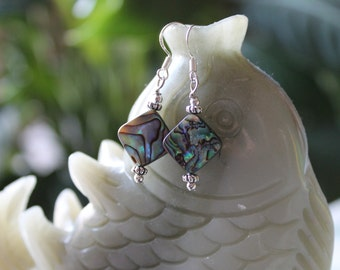 Abalone Earrings, sterling silver hook