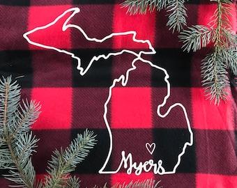 Personalized Buffalo Plaid Fleece Blanket