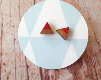Cherry wood triangle earrings - dipdye red