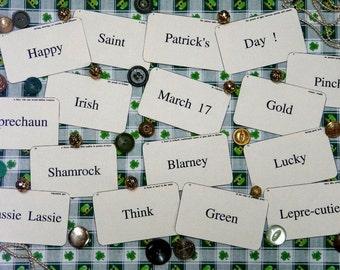 16 St. Patrick's Day Flash Cards PDF - vintage like altered art party blarney shamrock saint green irish scrapbooking primitive