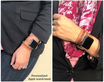 Double Tour Apple Watch Band 42mm, Monogram Apple Watch Band 38mm, Quote iWatch Band for Men Women & Couples, Personalized Apple Watch Strap