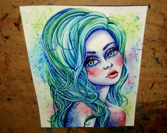 ORIGINAL Painting - Toxic Beauty - Blue Green and Purple Pop Art Pretty Girl Portrait by Carissa Rose 8.5x11 in