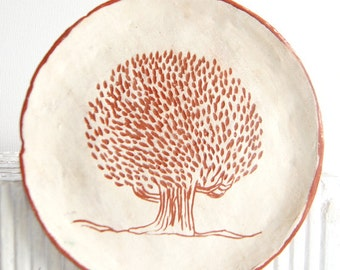 Handmade Ceramic Dessert Plate-Ceramic Plates-Pottery Plate-Tree Decor-Ceramics And Pottery