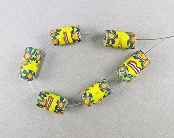 Old Millefiori Beads 6 Matched African Trade Beads Venetian Glass Beads Old Jewelry Supplies Antique Collectible Beads UK