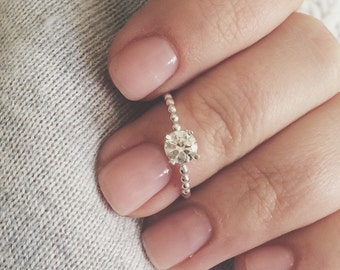 5mm cz ring, tiny solitaire ring, sterling silver ring, sterling silver solitaire ring, sterling silver cz ring, stacking ring, beaded band