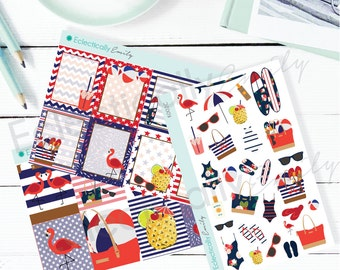4th of July Mini Kit | Patriotic Stickers | Red White and Blue Stickers | Summer Stickers for use with ERIN CONDREN LifePlanner K002-A
