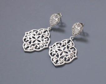 Filigree Dangle Earrings. SilverEarrings. Bridal Jewelry. Bridesmaid Earrings. Everyday Earrings.Gift for Her