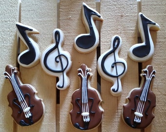 String Instrument and Music Cookies - One Dozen