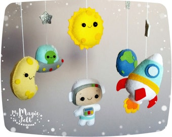 Baby mobile Space adventure Baby boy mobile planets Space nursery mobile Astronaut crib mobile space Baby boy nursery Rocket baby mobile