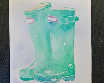 Green Rainboots Watercolor Painting