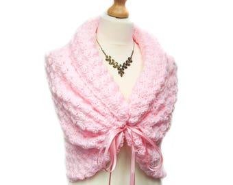 Pink Bridal Cape, Spring Wedding Shawl, Bridal Wrap, Bridesmaid Capelet, Bridal Bolero, Bridal Shawl, Pink Shawl, Romantic Wedding Cover Up