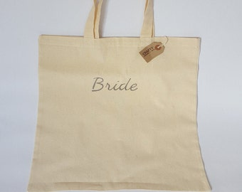 Natural Cotton Tote Shopping Bag Shopper With Handmade Grey Bride Stencil Design Personalised Hen Party Wedding Gift