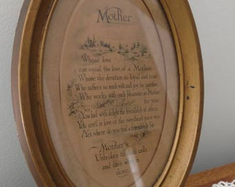 Vintage gold framed Mother poem gift for Mom tin frame Mother's Day unique oval plaque art old wall hanging Grandmother present classy gift