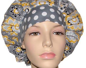 Bouffant Scrub Hat-Scrub Hats For Women-ScrubHeads-Suzani Floral Medallions-Anesthesia Scrub Hat-Scrub Cap-Surgical Scrub Hat