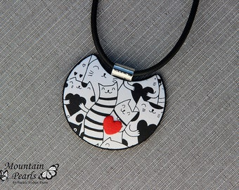 Cat Lover Necklace, Black and White Cat Necklace, Kitty Necklace, Cat Jewelry, Animal Lover Gift, Cat Pendant, Kitty Pendant, Gift for her