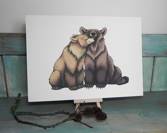 Bear Couple Illustration - A4 Print on 270gsm Card available in 3 Colours