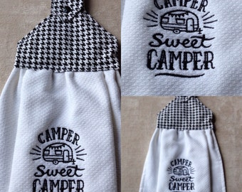 Hanging kitchen towels, sweet camper towel