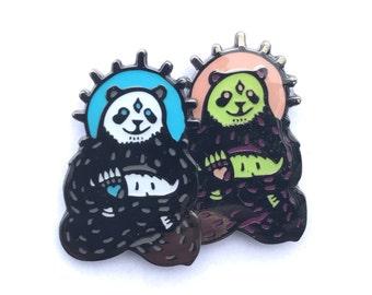 limited edition third eyed  spirit panda two packs,  glow enamel pins