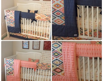 DEPOSIT Crib Bedding Set Girl Boy Twins Tribal Arrows Navy and Peach Made to Order