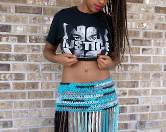 Crochet Bikini Bottom Cover-up, Crochet Hip Belt, Festival Skirt, Festival Wear, Fringe Skirt in a mixture of Blues, Greys and Black