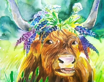Highland cow in lupine crown, original watercolor painting, cow wall art, farm animals nursery decor, bucolic, rural, summertime, red cow