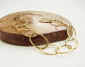 Chunky Chain bracelet, 18kt gold plated hand hammered cuff, modern bridesmaid jewelry, wedding party gifts