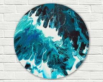 Round painting, original abstract painting on canvas, original painting, Abstract Wall Art, fluid painting, turquoise painting