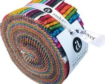 "Andover Sun Print 2016 Strip Roll 2.5"" Precut Fabric Quilting Cotton Strips Jelly Alison Glass"