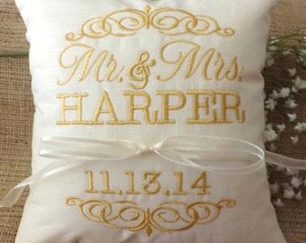 Ring Bearer Pillow, Mr & Mrs. Ring Pillow, wedding pillow, embroidery, monogram, custom. personalized, ring bearer pillows