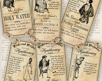 Pride and Prejudice Apothecary Labels printable craft art hobby crafting scrapbooking instant download digital collage sheet - VD0378